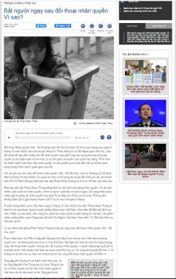 Thực hư Phạm Đoan Trang bị bắt sau Đối thoại nhân quyền Việt - Mỹ?